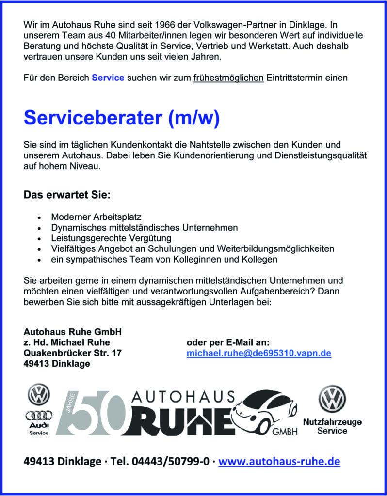 Anzeige Serviceberater 2016