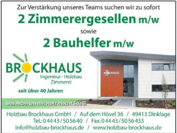 Holzbau Brockhaus sucht Zimmerergesellen und Bauhelfer