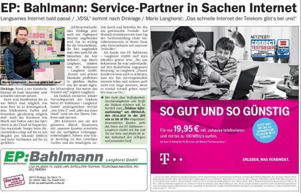 Das schnelle Internet der Telekom gibt es bei EP: Bahlmann-Langhorst