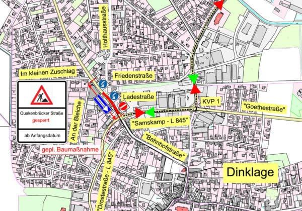 Quakenbrücker Straße wird ab Montag (16. Oktober) einseitig gesperrt / Umleitungen eingerichtet