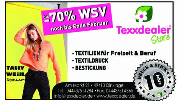 Texxdealer Update – Teamzuwachs/ Bis zu 70 Prozent auf Tally Weijl Artikel/Ab März neuer Online-Shop