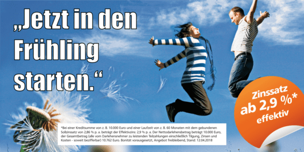Jetzt mit der VR Bank Dinklage-Steinfeld in den Frühling starten und lang ersehnten Wunsch erfüllen